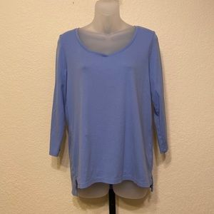 Talbots Stretch Weekend Tee Blue Large
